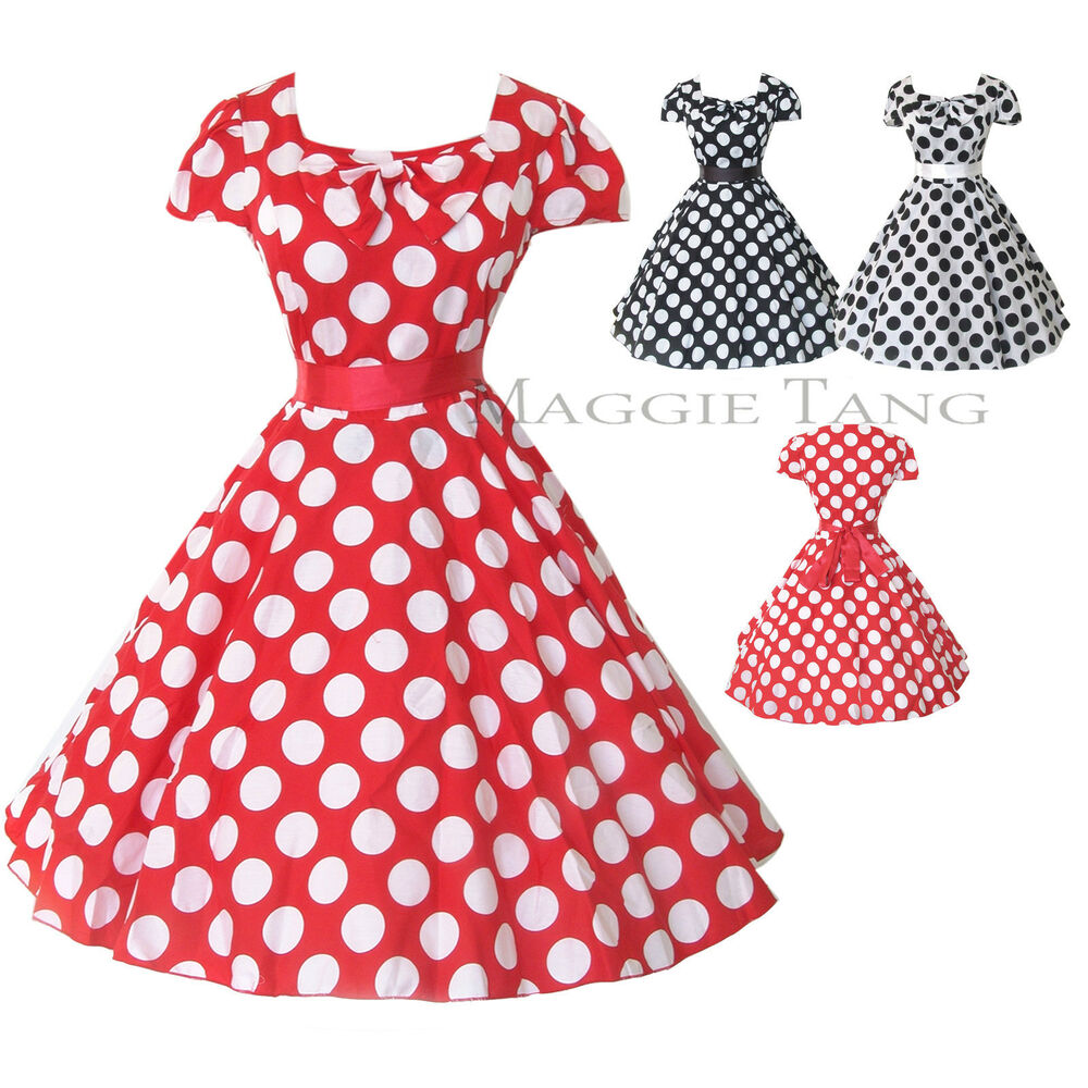 50s 60s VTG Pinup Rockabilly Polka Dot Swing Full Skirt