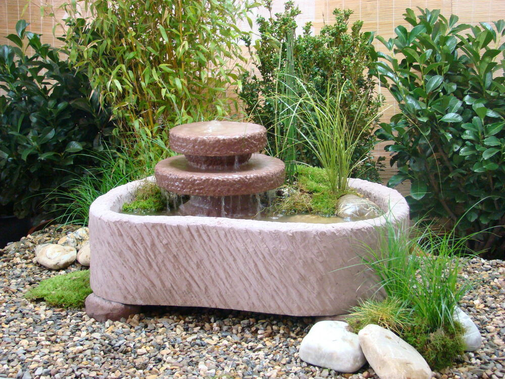 mini teich mit 2 kaskaden springbrunnen wasserspiel 165kg werksandstein ebay. Black Bedroom Furniture Sets. Home Design Ideas