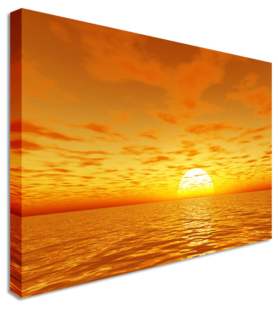 Large sunset seascape orange rise canvas pictures wall art for Orange wall art