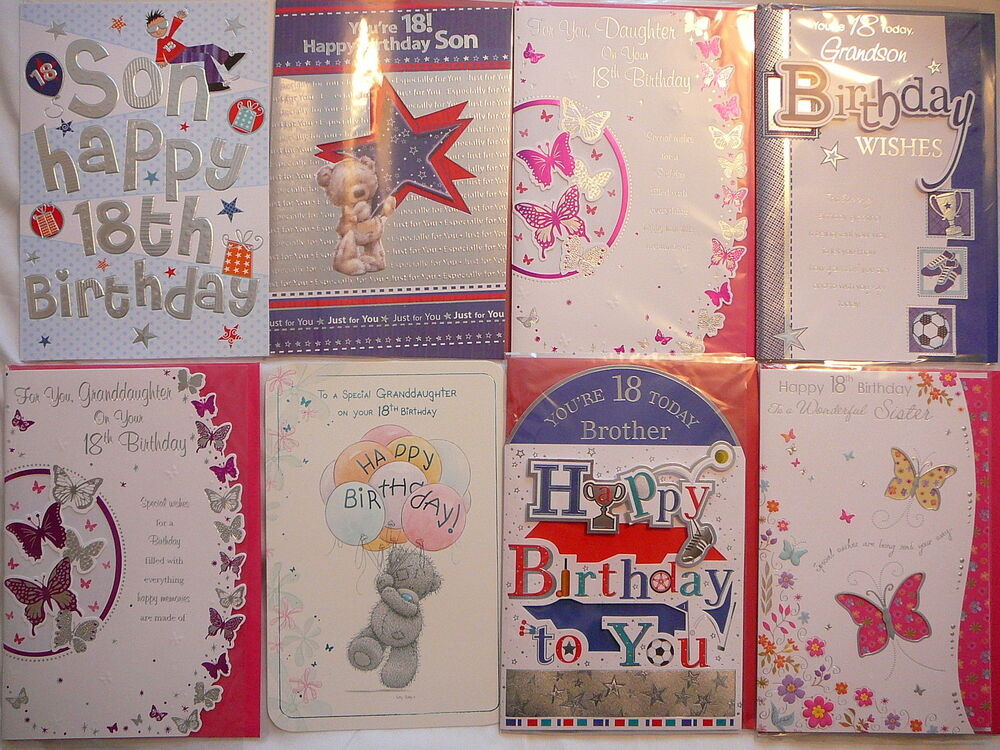Birthday Card 18th Son Daughter Sister Brother Grandson