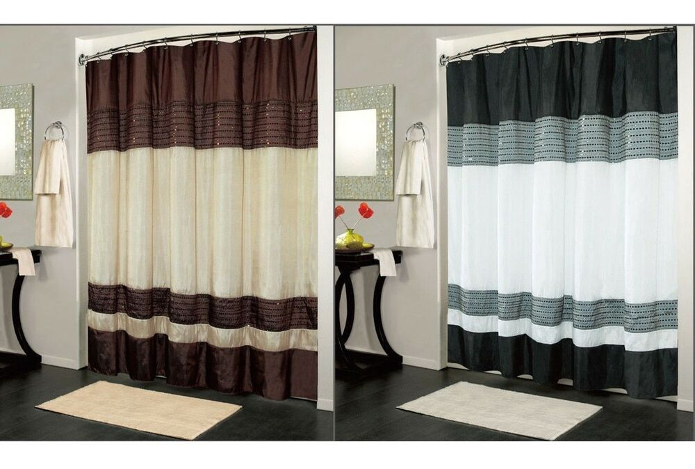 Ibiza Fabric Shower Curtain Luxury Bathroom Accessories 70 X 72 2 Colors Ebay