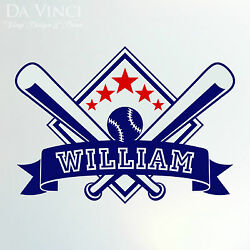 Personalized Boy Name Baseball Vinyl Sticker Wall Decal Decoration
