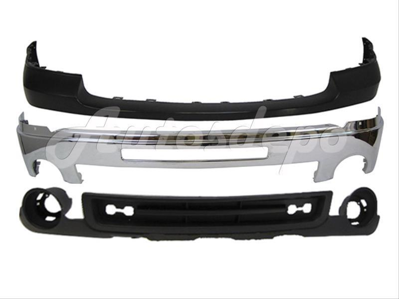 2007 2013 sierra 1500 front bumper chrome bar cap valance w air intake hole 3pc ebay. Black Bedroom Furniture Sets. Home Design Ideas
