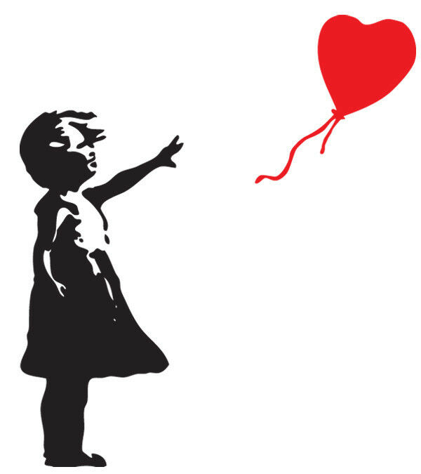 banksy graffiti girl heart balloon iron on t shirt. Black Bedroom Furniture Sets. Home Design Ideas