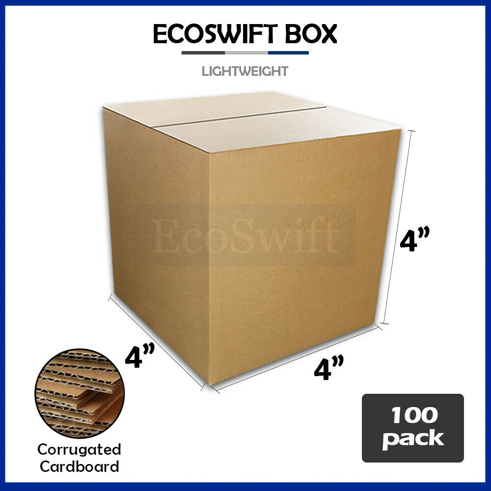 100 4x4x4 cardboard packing mailing moving shipping boxes. Black Bedroom Furniture Sets. Home Design Ideas