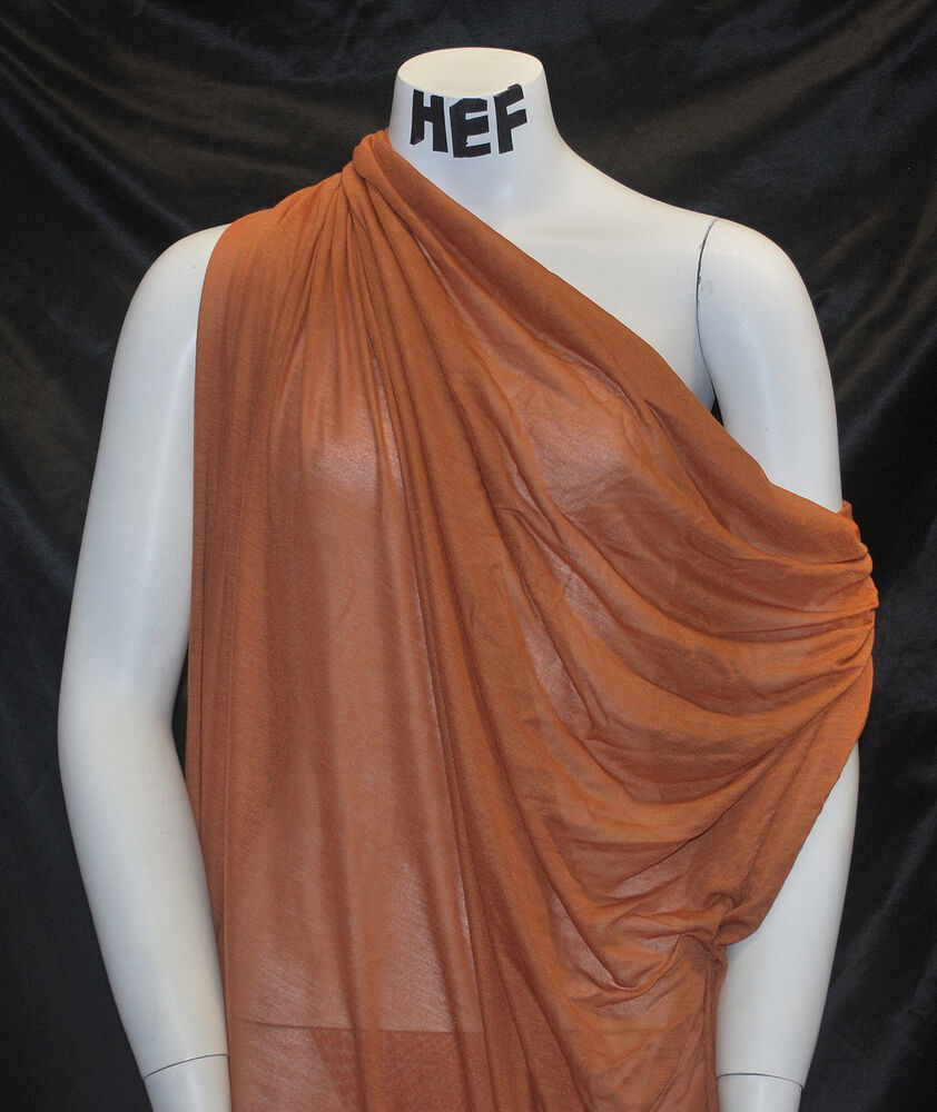 micro modal silk jersey sheer knit fabric ecofriendly natural fiber rust color ebay. Black Bedroom Furniture Sets. Home Design Ideas