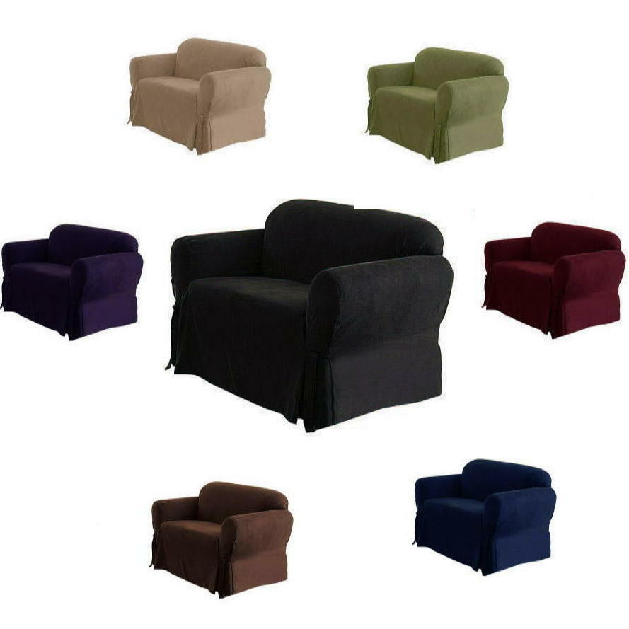 1 piece luxury micro suede sofa loveseat arm chair slip cover couch new black ebay Couch and loveseat covers