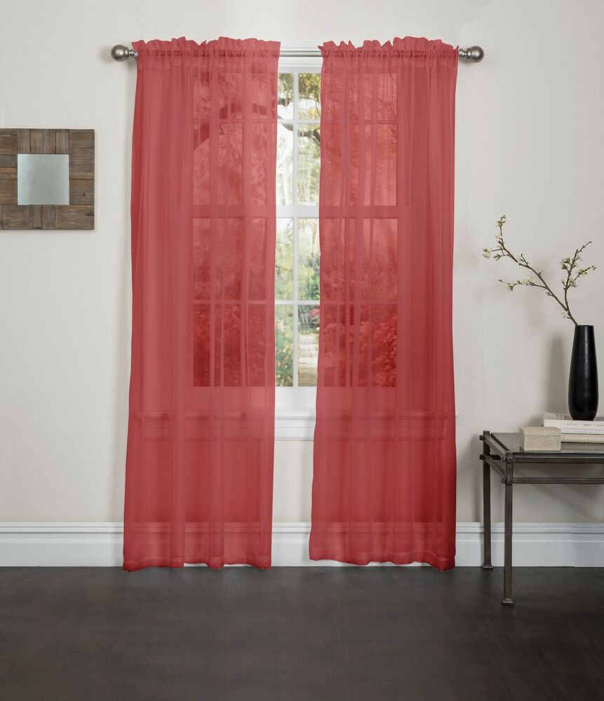 Red Sheer Voile Window Curtain Panel Great Quality Sheer