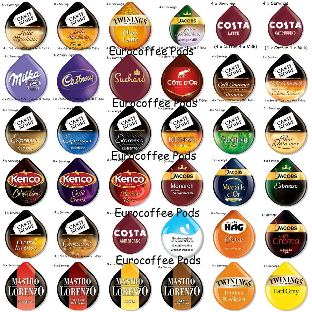 tassimo coffee t discs capsules pods 4 or 8 cups 30 flavours to choose from ebay. Black Bedroom Furniture Sets. Home Design Ideas