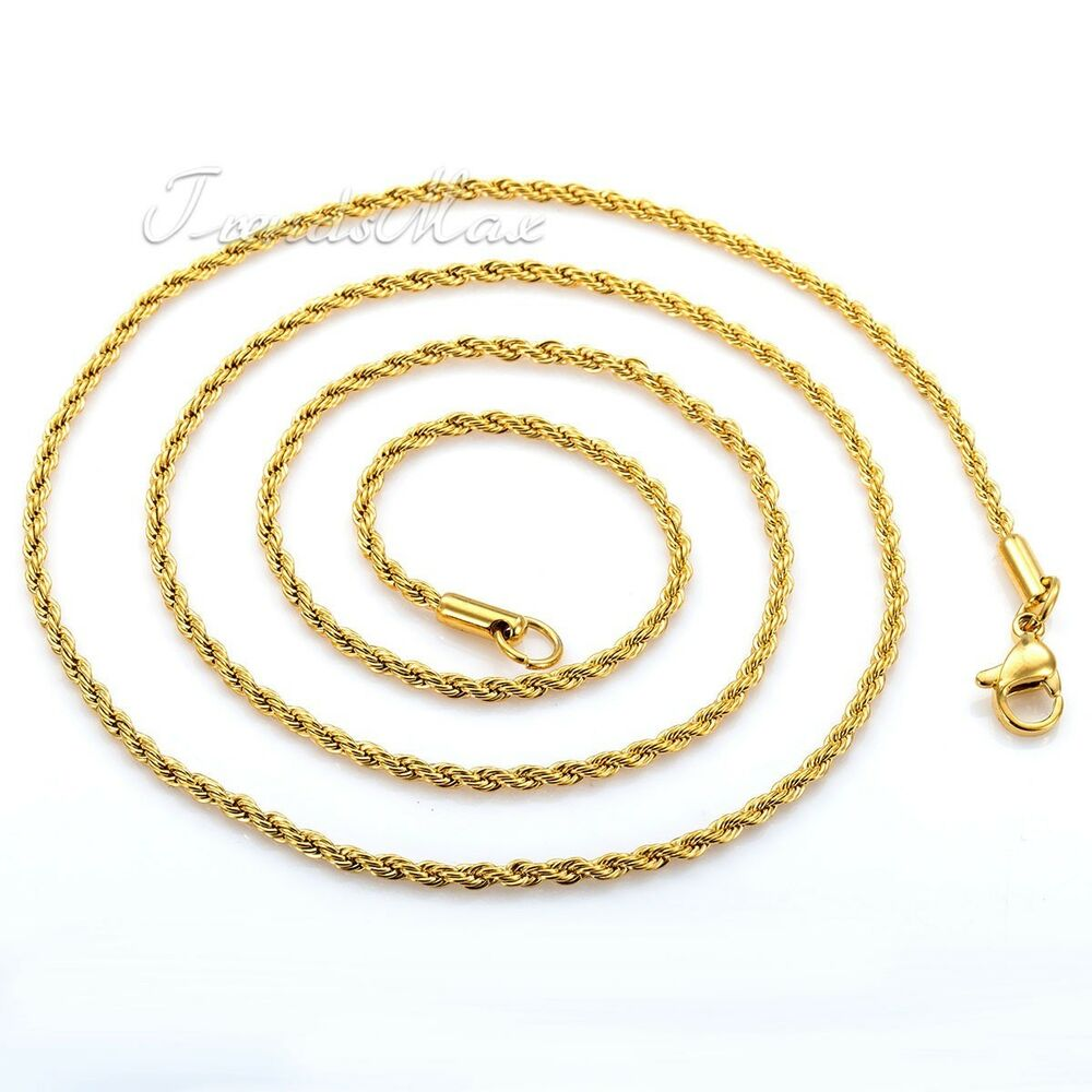 2mm Mens Womens Chain Boys Gold Tone Rope Link Stainless