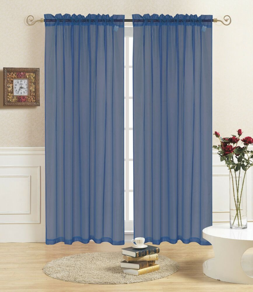 Navy Sheer Voile Window Curtain Panel Great Quality Sheer