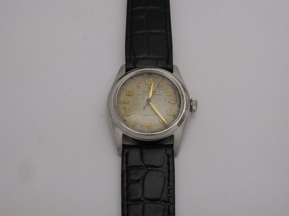Vintage 1950 stainless rolex oyster speedking watch black leather original dial ebay for Vintage rolex oyster