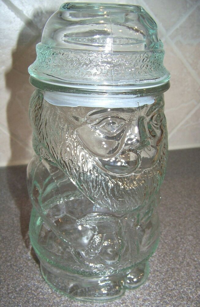 Clear glass christmas holiday santa candy cookie snack jar for Christmas glass jars