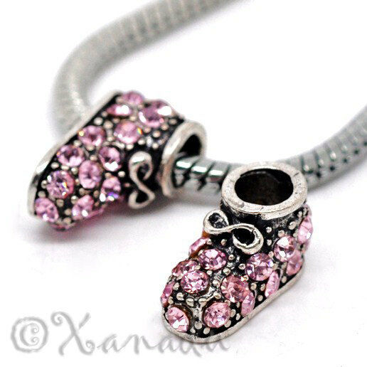 Baby Charm Bracelets: 1 Pink Baby Girl Bootie For European Charm Bracelets
