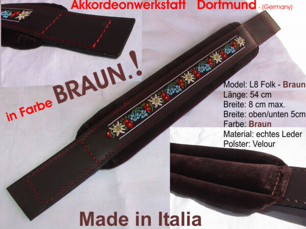 8 x 54 cm, Akkordeon Bassgurt, Riemen, Farbe:BRAUN, accordion bass strap - BROWN