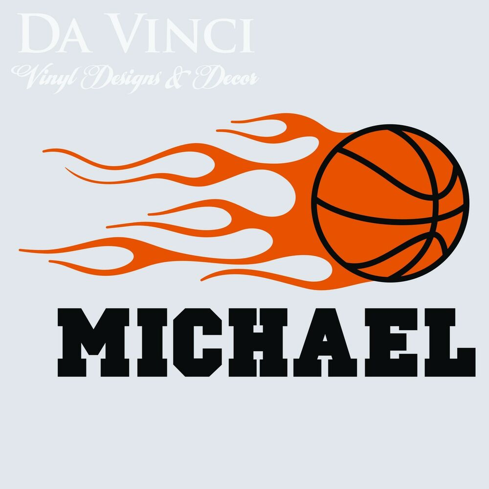 Personalized boy name basketball ball vinyl sticker wall for Basketball wall decals