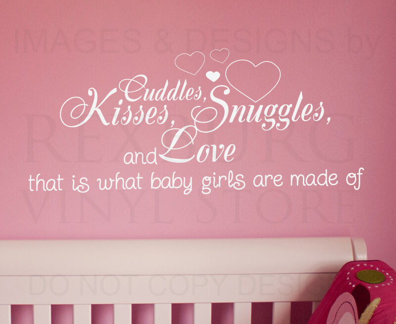 Wall Decal Quote Sticker Cuddle Kisses Snuggles And Love