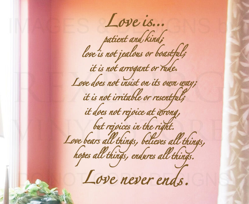 Wall Quote Decal Vinyl Sticker Art Love Is Patient And