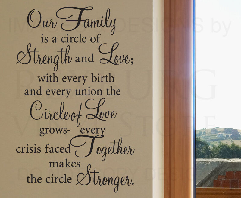 Quotes About Family Strength: Wall Decal Sticker Quote Vinyl Art Our Family Is A Circle