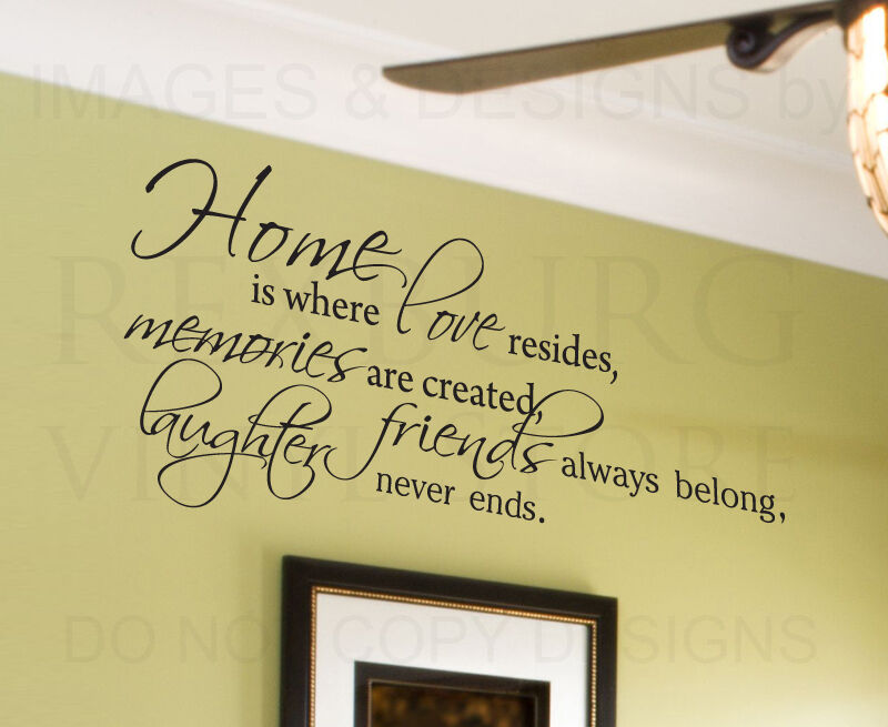 Wall decal quote sticker vinyl lettering home is where for Home decor quotes on wall