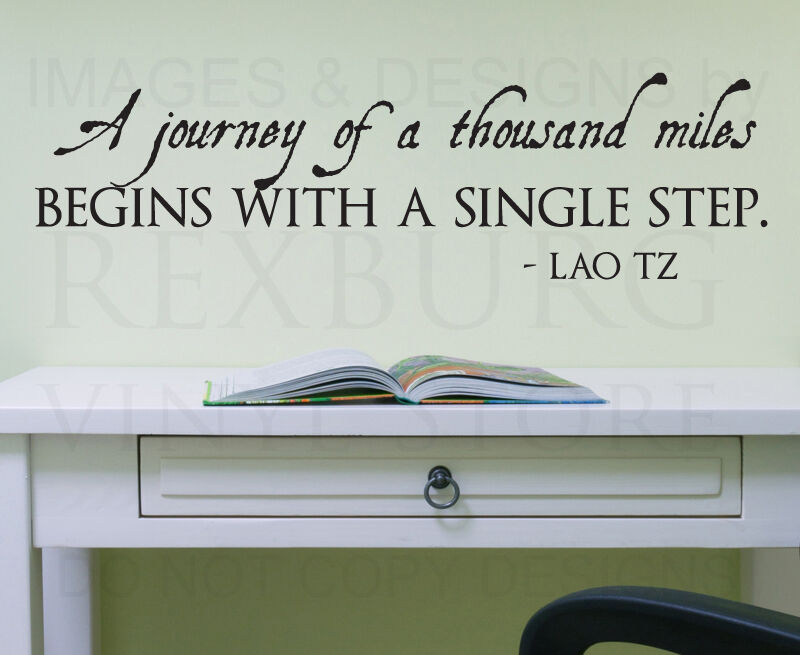Wall Sticker Decal Quote Vinyl Art Journey Of A Thousand Miles Motivational J60 Ebay