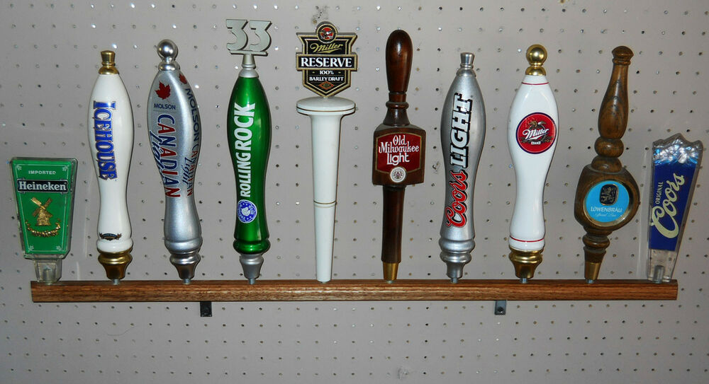Solid Oak Wall Mounted Beer Tap Handle Display Holds 10 34