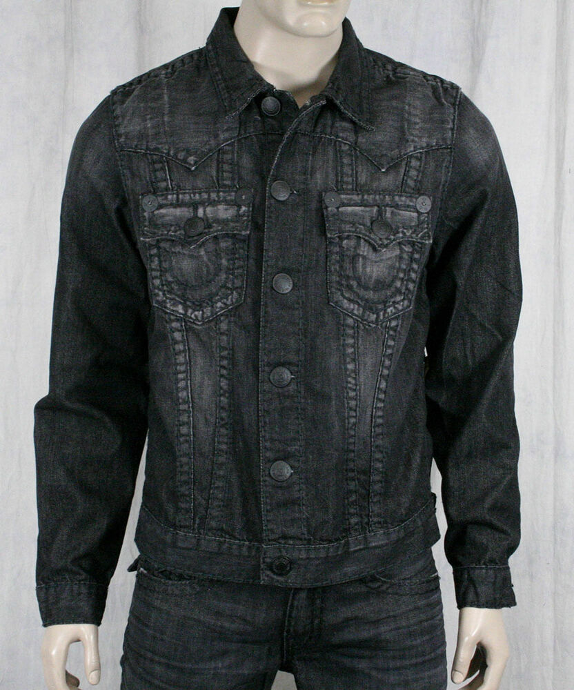 true religion jeans denim jacket jimmy super t black assasination m05900bkt2 ebay. Black Bedroom Furniture Sets. Home Design Ideas