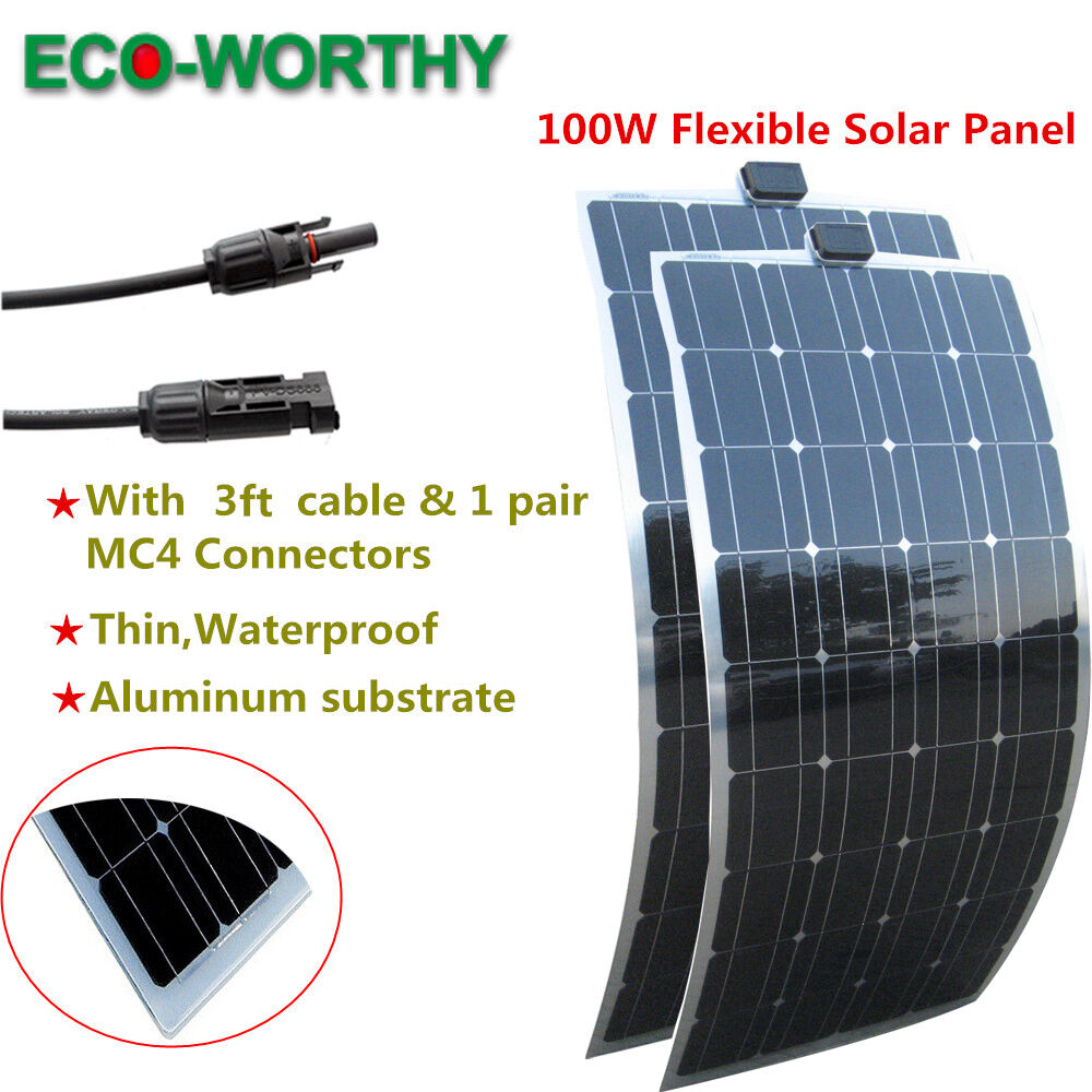200W 2 100W Mono Semi Flexible Solar Panel Battery Charger Waterp roof ...