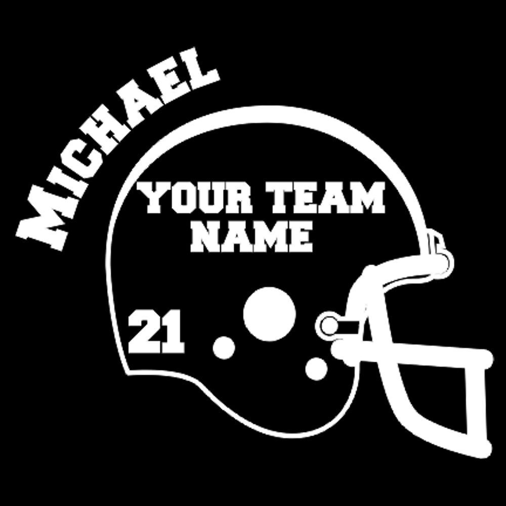 Custom Vinyl Football Helmet with Name, Team Name & # Car ...