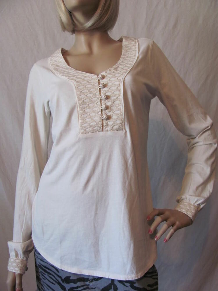 New Lucky Brand Womens Ivory L S Embroidered Button Tunic