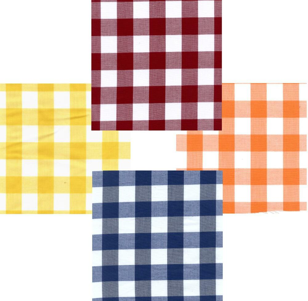 Gingham Poly Cotton Check Table Cloth Cover Various