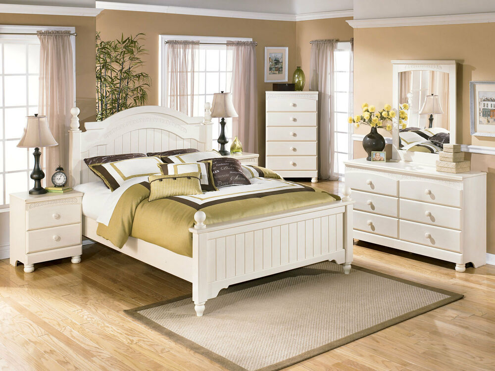 Fairfield 5pcs traditional cottage white queen king poster - Traditional white bedroom furniture ...