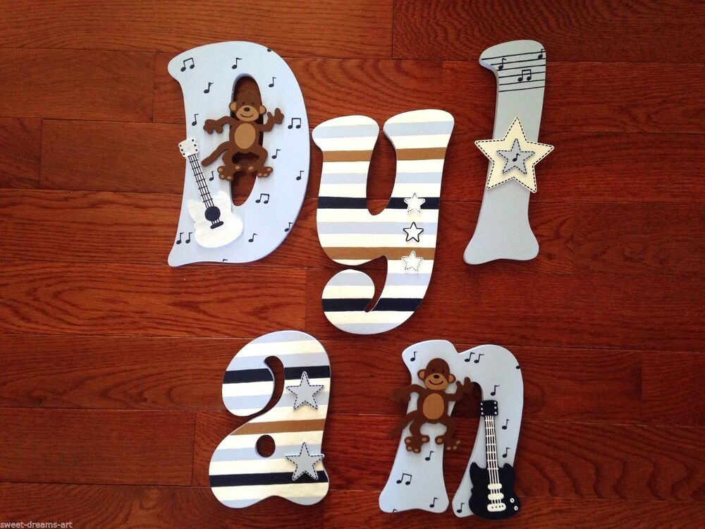 Personalized Hand Painted Wood Letters For Carters Monkey