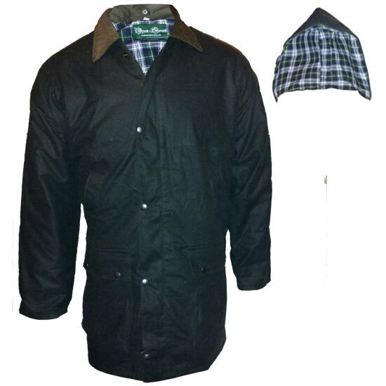 New mens wax coat jacket waterproof for hunting farming for Waterproof fishing jacket