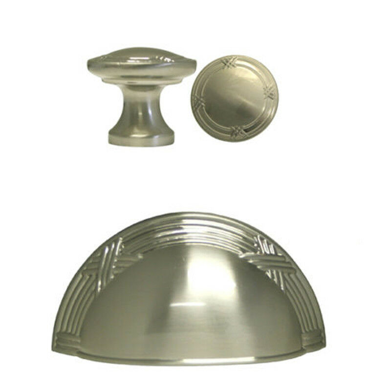 Satin Nickel Ribbon & Rood Kitchen Cabinet Drawer Knobs