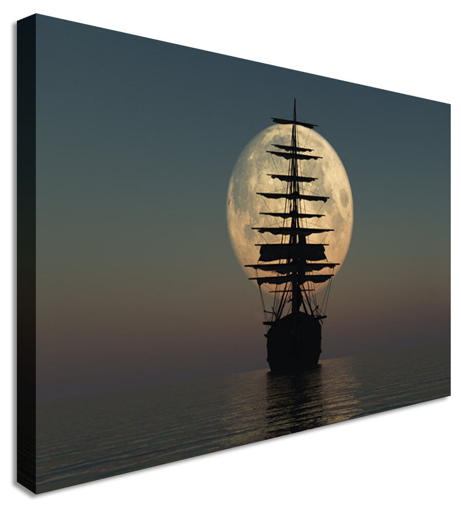 Pirate ship at sea canvas prints wall art picture large for Cheap tattoo chairs uk