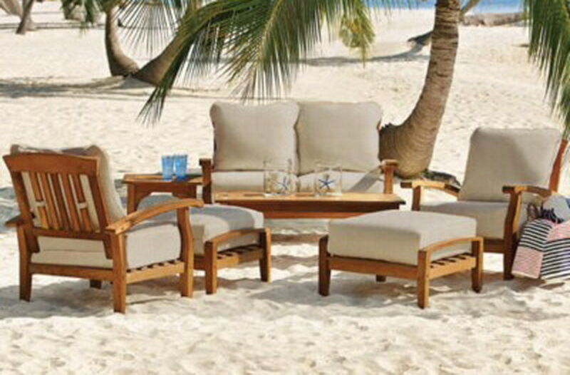 New 7 piece teak wood outdoor patio seating set garden for Wooden garden furniture