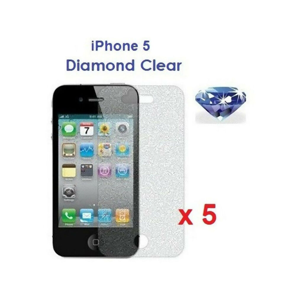 iphone 5 screen protector 5 x iphone 5 5g bling sparkling glitter shimmer 14585