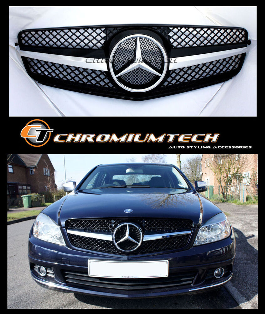 black chrome sports 1 fin grill for mercedes w204 c class. Black Bedroom Furniture Sets. Home Design Ideas