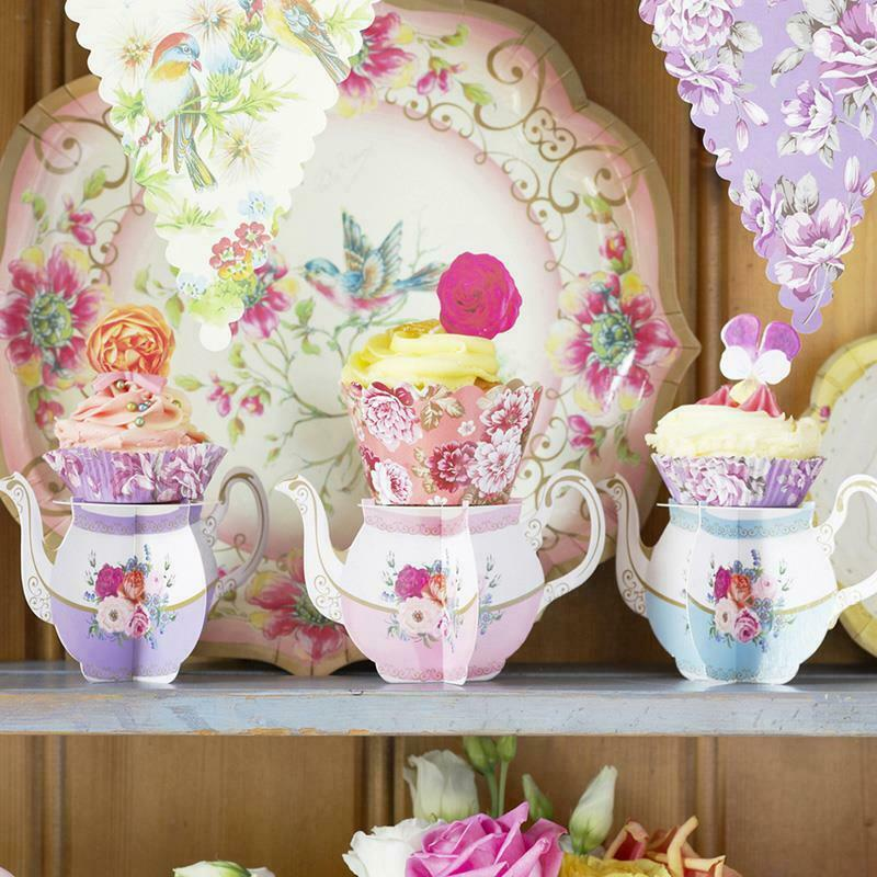 Cupcake Decorating Ideas For High Tea : Alice in Wonderland Floral Mini Cup Cake Standx6 Vintage ...