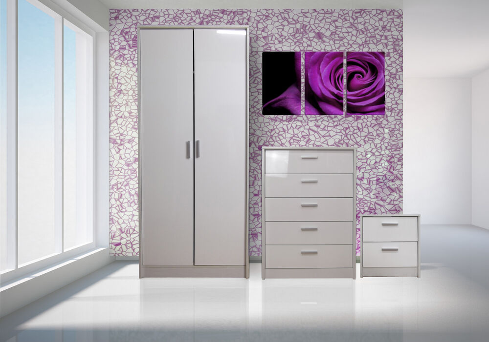 bedroom furniture set wardrobe chest bedside high gloss white white