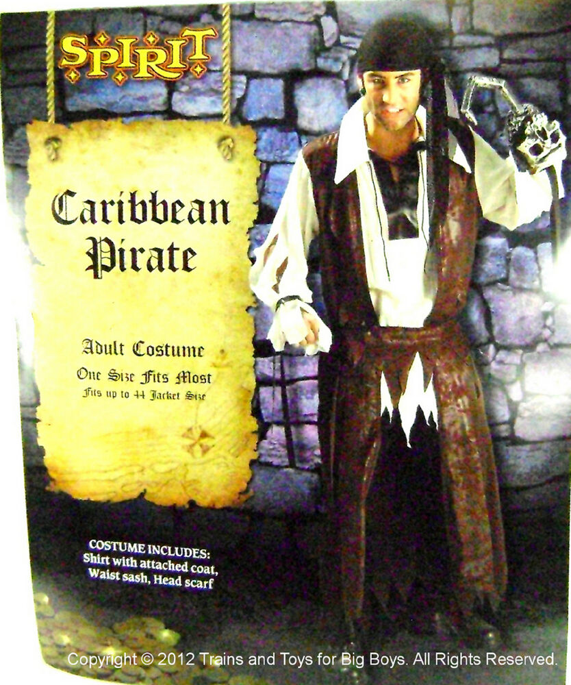 Details about CARIBBEAN PIRATE HALLOWEEN COSTUME MEN'S One Size Up to 44  Pirates Mens L New I