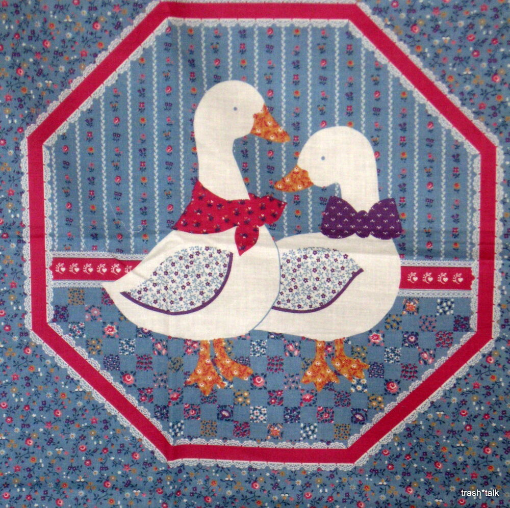 Vintage 80s Fabric Panel Pillow Block Blue Calico Goose 15