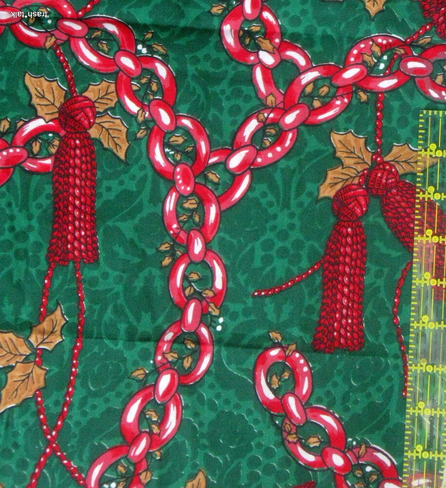 Christmas fabric green chain garland rope bolt end remnant