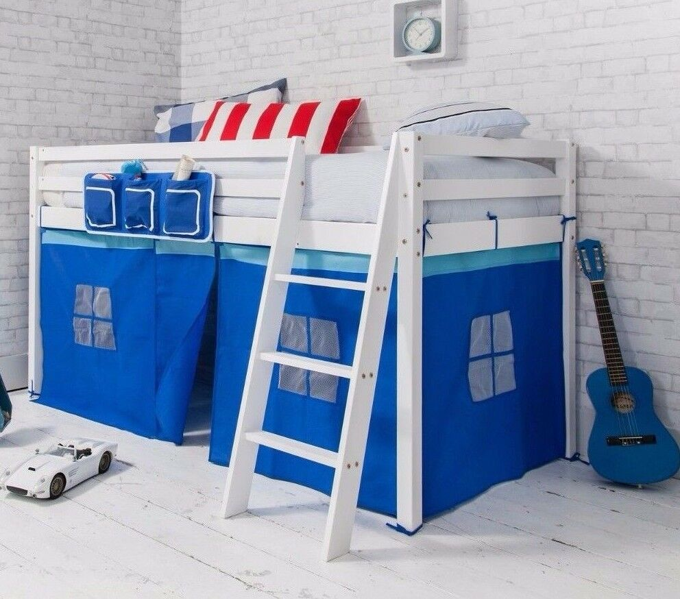 Cabin Bed Mid Sleeper Wooden Pine Blue Tent, 57WHITE | eBay