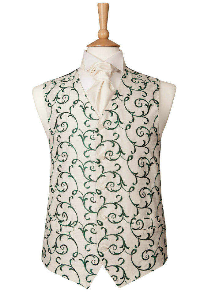 Mens ivory and green swirl wedding dress suit waistcoat 36 for Mens ivory dress shirt wedding