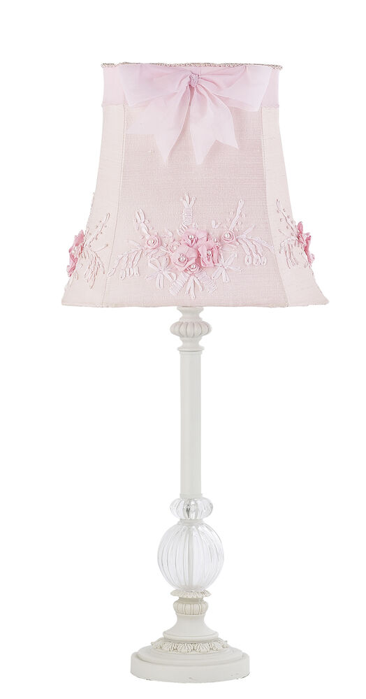 Kids Girls White Table Lamp Glass Pink Shade Nursery