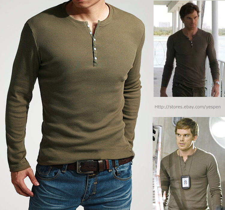 Showtime 39 s dexter kill shirt mens henley tee long sleeve t for Long sleeve fitted tee shirt