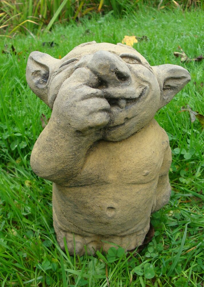 Small Nose Picking Troll Stone Home Or Garden Funny Troll