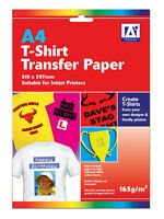 2 Sheets of T-SHIRT IRON ON PAPER..... Transfer Paper for Light Coloured Fabrics